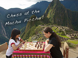 Alexandra Kosteniuk at the Machu Picchu