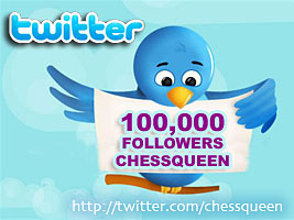 Alexandra Kosteniuk has 100,000 twitter followers