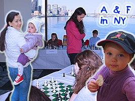 Alexandra Kosteniuk went to New York for a simul for the US Chess Trust