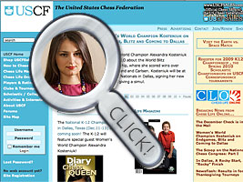 World Chess Champion and Chess Queen Alexandra Kosteniuk is featured on uschess.org