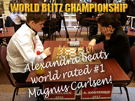 World Chess Champion and Chess Queen Alexandra Kosteniuk beats Magnus Carlsen