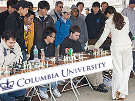 Chess Grandmaster Alexandra Kosteniuk gave a simul at Columbia University in New York