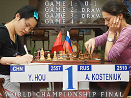 Alexandra Kosteniuk beat Hou Yifang in the first game of the Final of the World Chess Championship in Nalchik