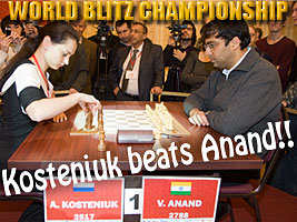 World Chess Champion and Chess Queen Alexandra Kosteniuk beats Anand