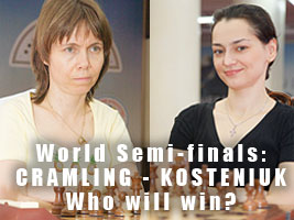 Alexandra Kosteniuk is playing Pia Cramling at the World Chess Championship in Nalchik