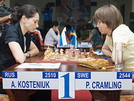 Alexandra Kosteniuk beat Pia Cramling in their first game at the World Chess Championship in Nalchik