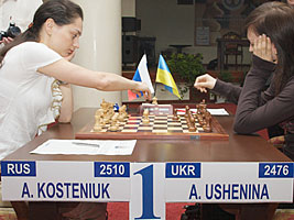 Alexandra Kosteniuk beat Anna Ushenina at the World Chess Championship in Nalchik