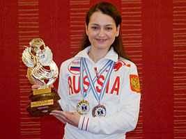 Grandmaster Alexandra Kosteniuk leads the Russian team at the European Team championships in Crete