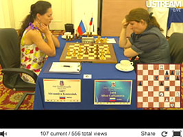 Chess Queen Kosteniuk beats Galliamova in Kazan 2012