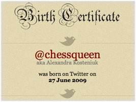 Chess Queen Alexandra Kosteniuk is on Twitter @chessqueen