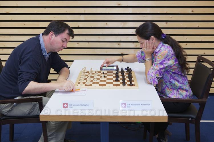 Chess Queen Alexandra Kosteniuk is in Switzerland, here against GM Gallagher