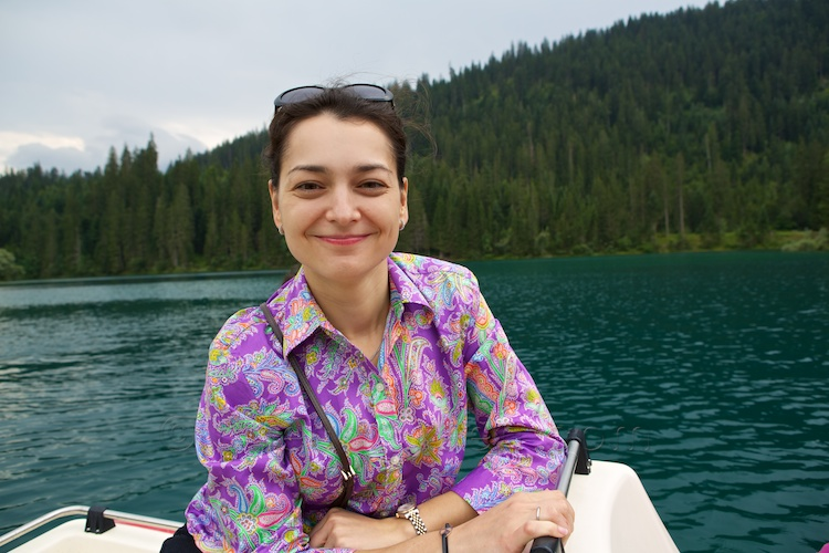 Chess Queen Alexandra Kosteniuk in Flims Switzerland at lake Cauma