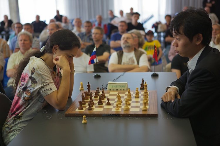 Chess Queen Alexandra Kosteniuk beats Wan Hao in Biel