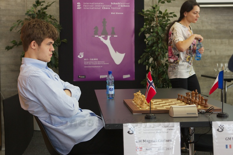 Magnus Carlsen will lose this game to Etienne Bacrot and will be eliminated