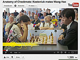 Chess Queen Alexandra Kosteniuk check mates Wang Hao