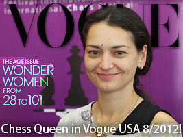 Chess Queen Kosteniuk is featured in Vogue August  2012