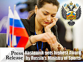 Chess Queen Alexandra Kosteniuk gets Honor by Russian Ministry of Sports