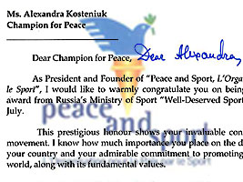 Chess Queen Alexandra Kosteniuk honored by Joel Bouzou Peace and Sports