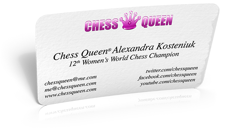 Chess Queen Alexandra Kosteniuk's business card