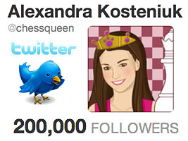 Chess Queen Alexandra Kosteniuk reached 200K followers on Twitter