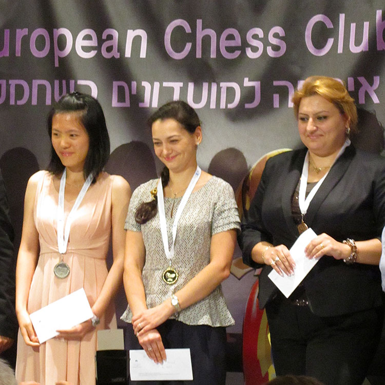 Gold: Alexandra Kosteniuk, Silver: Hou Yifan, Bronze: Elina Danielian