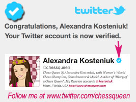 Chess Queen Alexandra Kosteniuk Twitter account chessqueen is verified