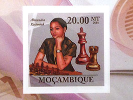 Mozambique Chess Stamp with Alexandra Kosteniuk