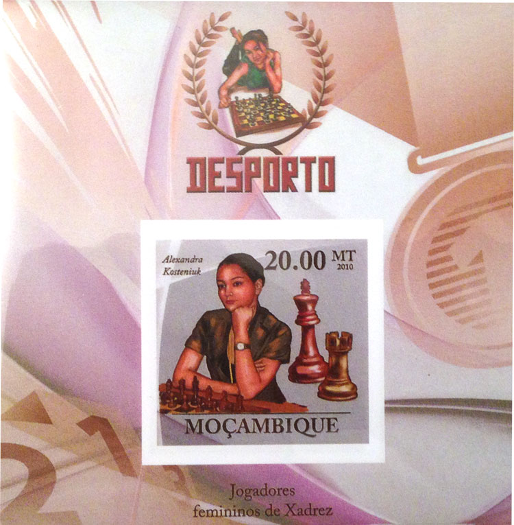 Chess Stamp from Mozambique with Alexandra Kosteniuk