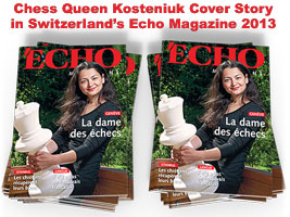 Chess Queen Kosteniuk on the cover of Echo Magazine