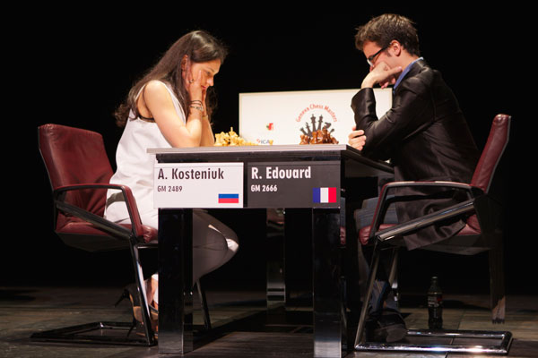 Alexandra Kosteniuk beats Romain Edouard in Geneva