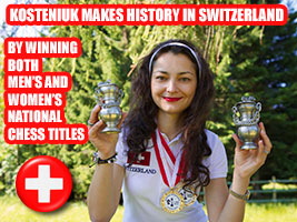 Chess Queen Alexandra Kosteniuk wins both National Swiss Chess Titles