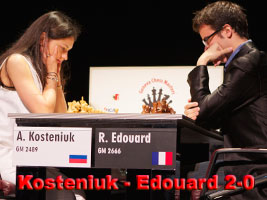 Kosteniuk beats Romain Edouard 2-0 in Geneva
