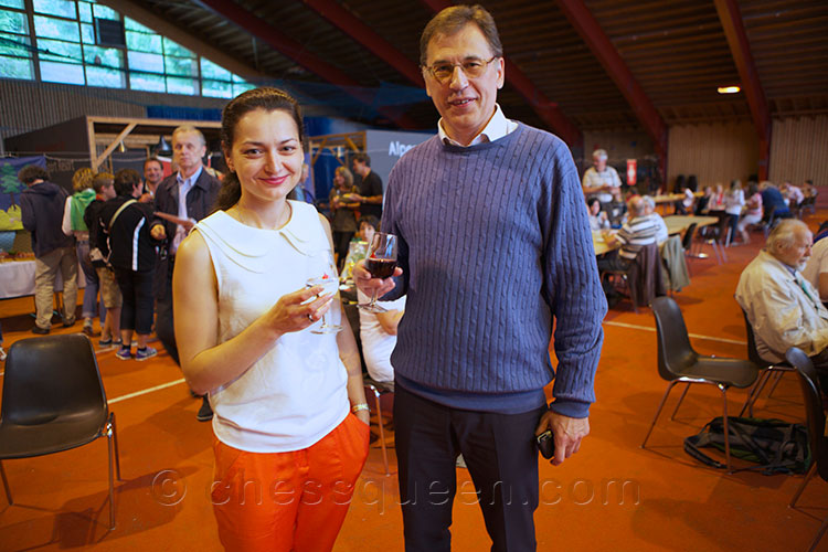 Swiss Champion Alexandra Kosteniuk with GM Alexander Raetsky