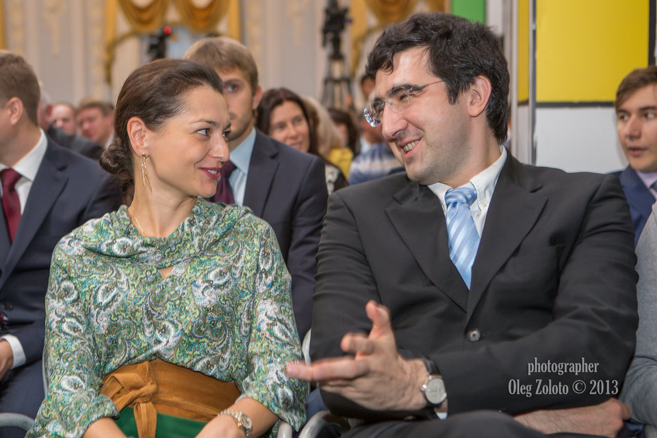 Chess Queen Alexandra Kosteniuk and Vladimir Kramnik