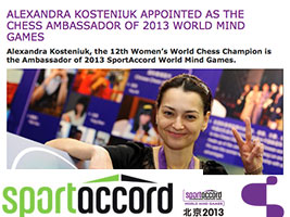 Chess Queen Alexandra Kosteniuk is World Mind Games Ambassador