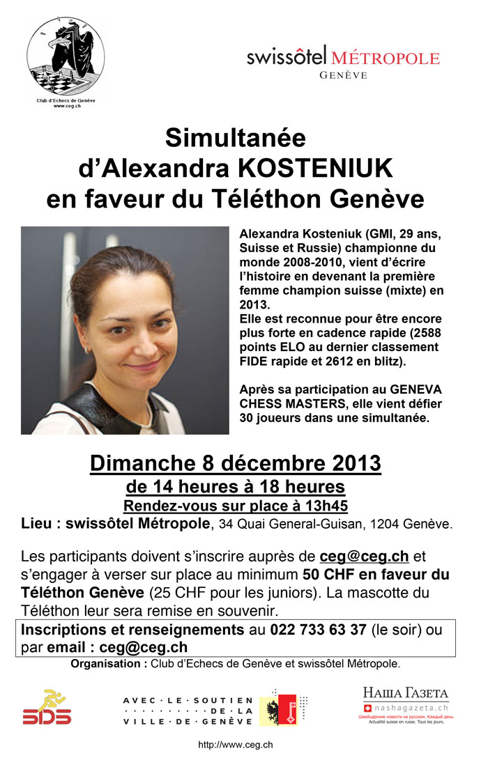 Kosteniuk to play chess simul in Telethon Geneva 2013