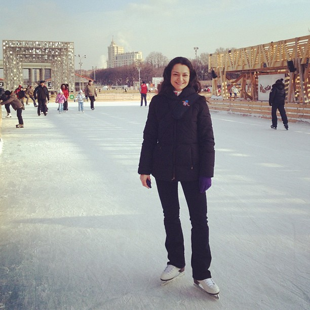 Alexandra Kosteniuk ice skating in the Gorky Park in Moscow